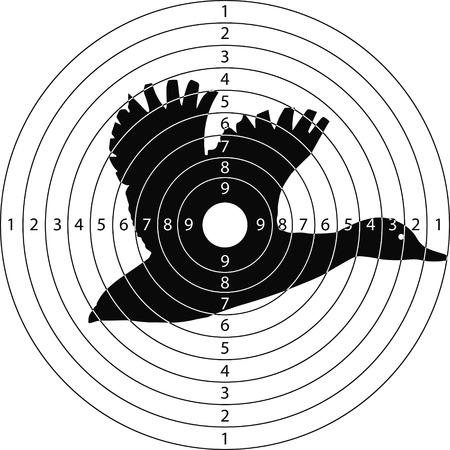 caza de patos objetivo para el campo de tiro de armas pequeñas hechas en el vector