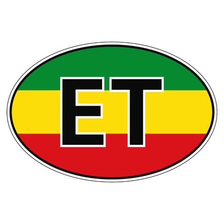 national flag ethiopia: Sticker on car, flag Republic of Ethiopia with the inscription ET vector for print or website design for language buttons