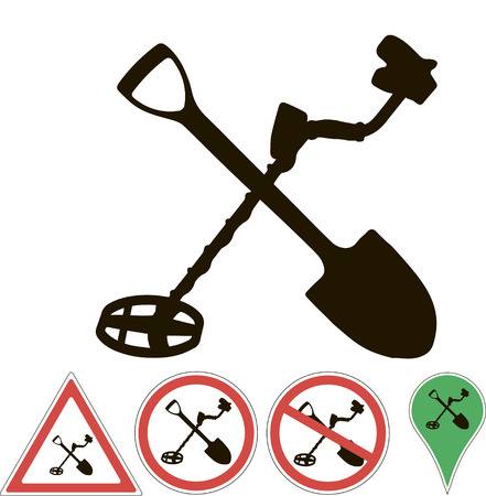 sign the metal detector and shovel on white Ilustracja