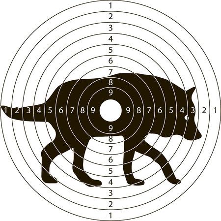 disparar lobo objetivo para el campo de tiro de armas pequeñas hechas en el vector Ilustración de vector