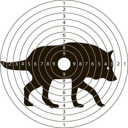 gun holes: shooting target wolf for the shooting range small arms made in the vector