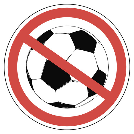 crossed-out wheeled a soccer ball in a red circle soccer not allowed to play European championship, vector for print or website design Illustration