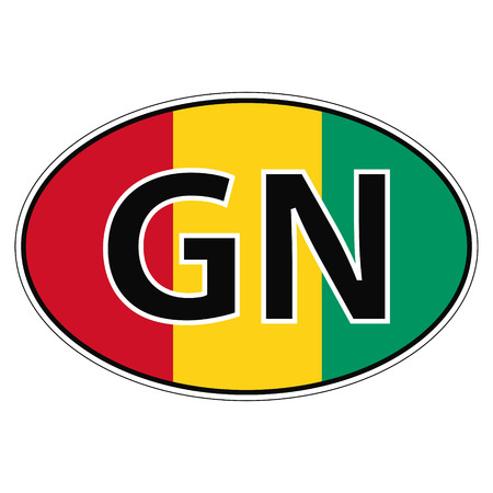 car flag: Sticker on car, flag Republic Guinea with the inscription GN vector for print or website design for language buttons Illustration