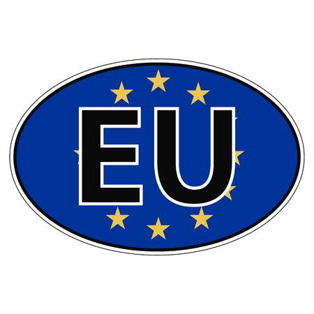 car flag: Sticker on car, flag European, Union, Europa the inscription EU vector for print or website design for language buttons Illustration