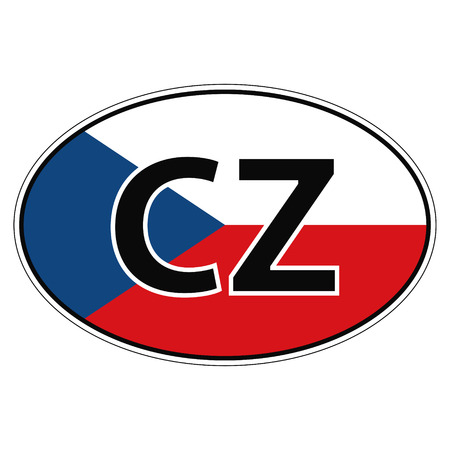 cz: Sticker on car, flag Czechia, Chech, Czech Republic the inscription cz vector for print or website design for language buttons