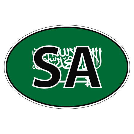 Sticker on car, flag Kingdom Saudi Arabia with the inscription SA vector for print or website design for language buttons
