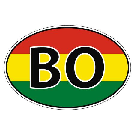 Pegatina en el coche, bandera de Bolivia el vector de inscripción BO para imprimir o el diseño de la página web para botones de idioma
