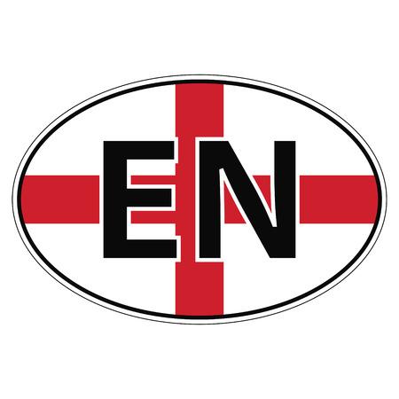 en: Sticker on car, flag England the inscription EN vector for print or website design for language buttons