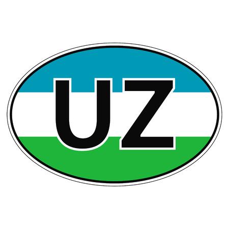 car flag: Sticker on car, flag of Uzbekistan with the inscription UZ vector for print or website design for language buttons Illustration