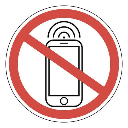 refrain: Sign ban prohibits mobile phone, smart phone, vector for print or website design, smart phone, vector for print or website design