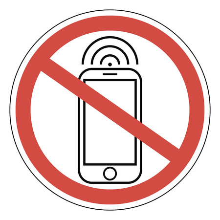 Sign ban prohibits mobile phone, smart phone, vector for print or website design, smart phone, vector for print or website design