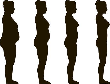 Siluetas de la mujer son símbolo de grasa para el logro de pérdida de peso de dieta apropiado.