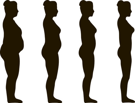 sedentario: Woman silhouettes are symbol of Fat to Fit Diet Weight Loss Success.