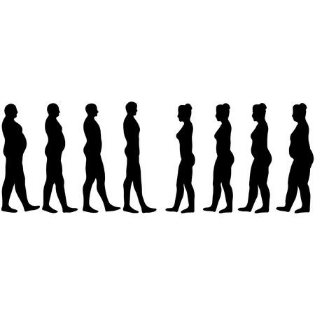 체중 감량 남성과 여성, 화이트 벡터 남성과 여성의 슬리밍 실루엣 일러스트