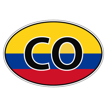republic of colombia: Sticker on car, flag of Republic Colombia with the inscription CO vector for print or website design for language buttons