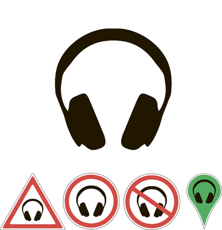 white pointer: sign earphones on white pointer