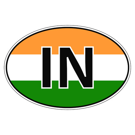 Sticker on car, flag Republic of India with the inscription IN vector for print or website design for language buttons