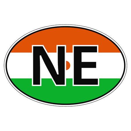 ne: Sticker on car, flag Niger with the inscription NE vector for print or website design for language buttons