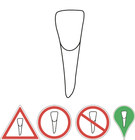 incisor: incisor  teeth signon on white background