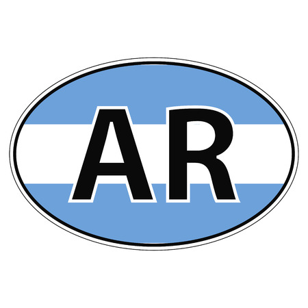 ar: Sticker on car, flag Argentina, Argentine Republic with the inscription AR vector for print or website design for language buttons