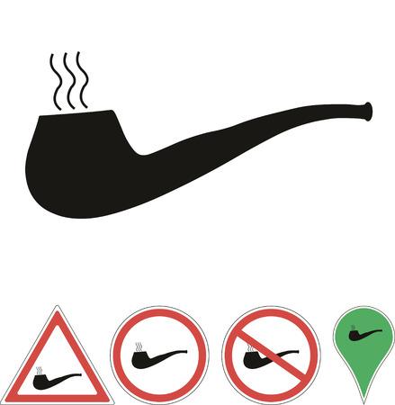 pipe smoking: Smoking pipe isolated on white Illustration