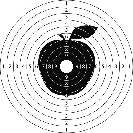 tiro al blanco applefor el campo de tiro de armas pequeñas hechas en el vector