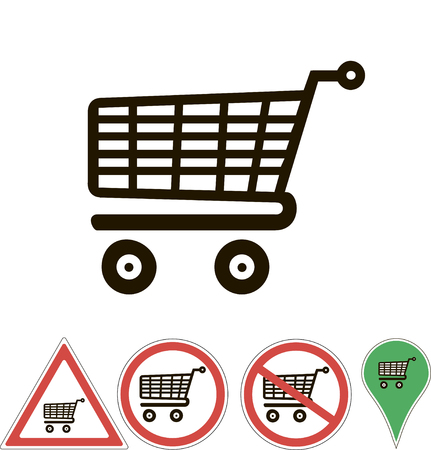 supermarket trolley: signs supermarket trolley isolated on white Illustration