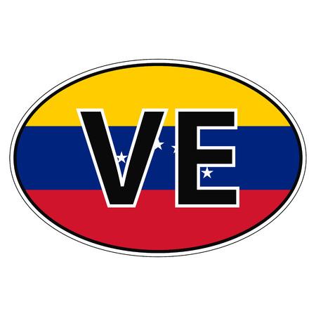 ve: Sticker on car, flag Bolivarian Republic Venezuela with the inscription VE vector for print or website design for language buttons