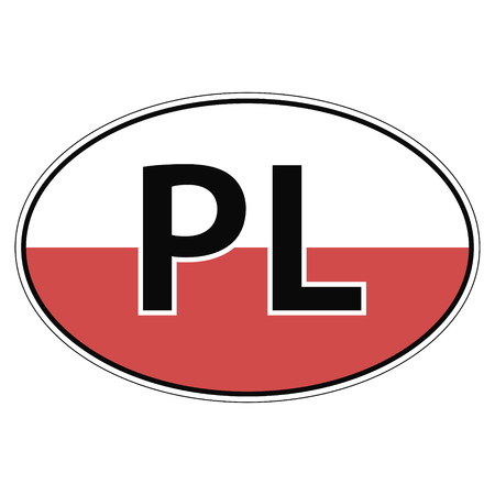 pl: Sticker on car, flag of Poland with the inscription PL vector for print or website design for language buttons