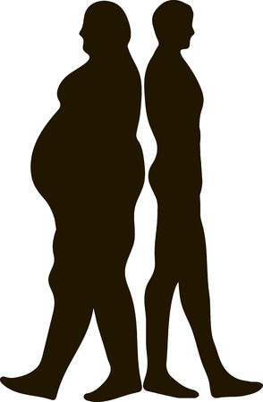 Vector concept fat overweight vs slim fit diet with muscles young man silhouette isolated on white background for weight loss, body, fitness