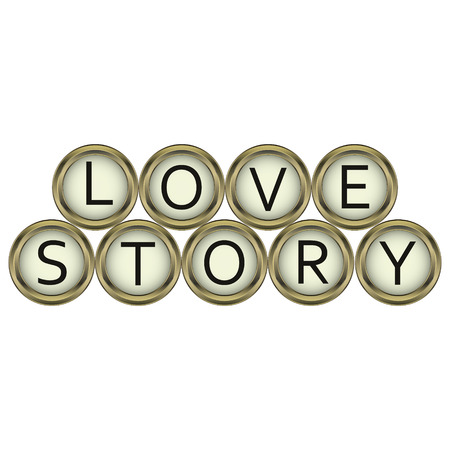 old typewriter: love story word of the buttons on an old typewriter in vector for print or design