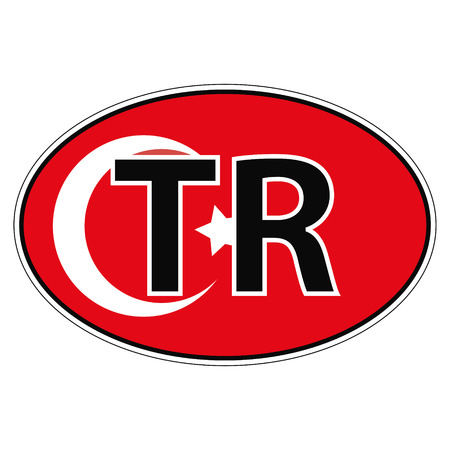 Sticker on car, flag Republic of Turkey with the inscription TR vector for print or website design for language buttons Illustration