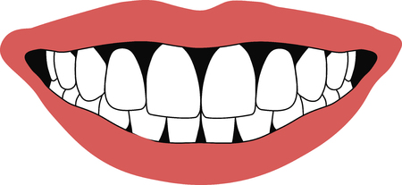 front teeth: mouth of a smiling human snow-white front teeth and red lips in vector for design or printing