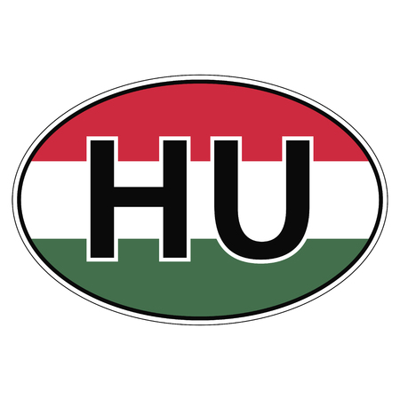 car flag: Sticker on car, flag of Hungary with the inscription HU vector for print or website design for language buttons