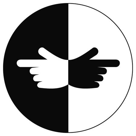 different directions: pointer fingers in different directions the concept of equilibrium in vector for print or design