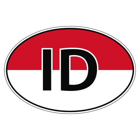 republik: Sticker on car, flag of Republik Indonesia with the inscription ID vector for print or website design for language buttons