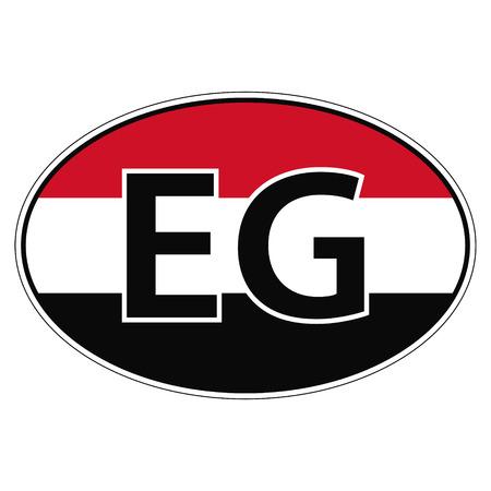 eg: Sticker on car, flag Arab Republic Of Egypt with the inscription EG vector for print or website design for language buttons Illustration