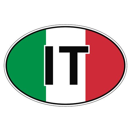 car flag: Sticker on car, flag of Italy, Italian Republicwith the inscription IT vector for print or website design for language buttons