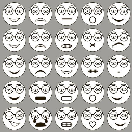 varied: Glasses Smiley: vector set of varied people face glasses, expression, emotions
