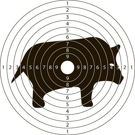 disparar jabalí objetivo para el campo de tiro de armas pequeñas hechas en el vector