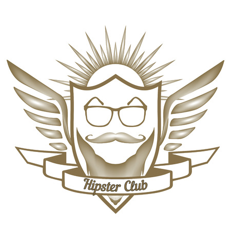 smocking: Hipster Club  store glasses, moustache, beard, in the heraldic shield, with calligraphic inscription Barber Shop, in vector for design or print