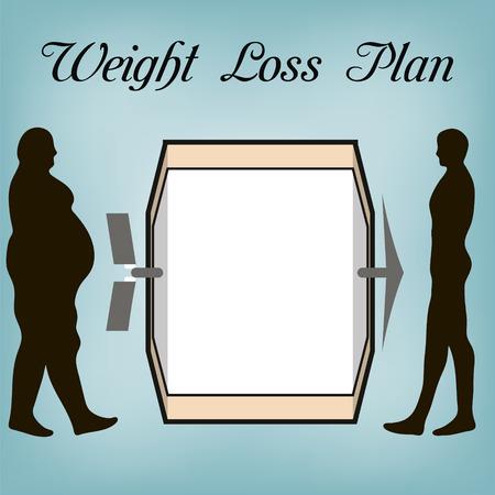 Plan de perte de poids, le gros homme et l'homme d'une Constitution sportive, l'avis pour le plan régime de perte de poids, en vecteur pour la conception ou l'impression.