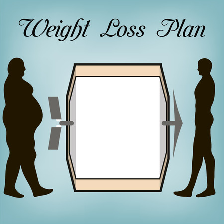 weight reduction plan: Weight loss plan the fat man and the man of a sports Constitution , the notice for plan weight loss diet, in vector for design or printing.