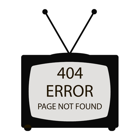 white pointer: sign TV on white pointer Error 404, web page not found. Ideal for your error page. 100% vector, EPS 10