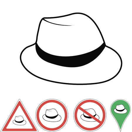 fedora: Vector illustration club hat  Vintage mans fedora hat label isolated on white background. . Illustration