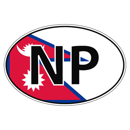 Sticker on car, flag Nepal with the inscription NP vector for print or website design for language buttons Illustration