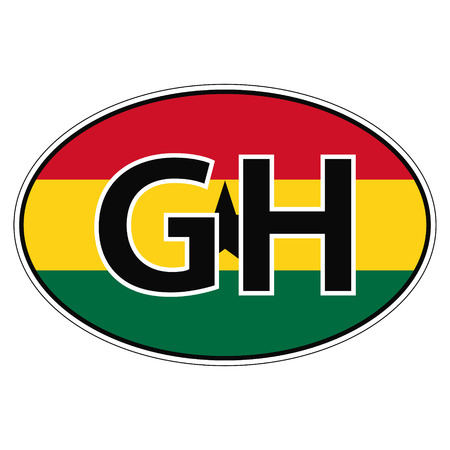 car flag: Sticker on car, flag Republic Ghana with the inscription GH vector for print or website design for language buttons