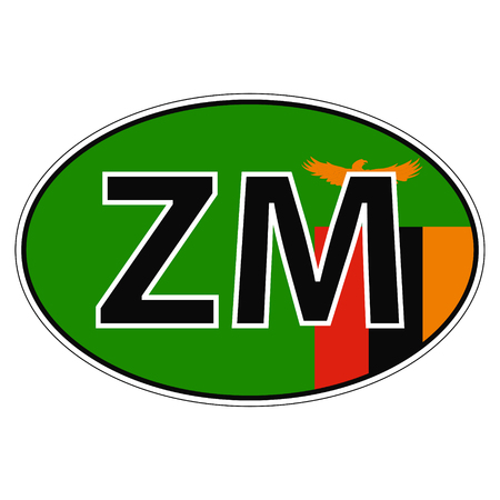 Sticker on car, flag Zambia the inscription ZM vector for print or website design for language buttons
