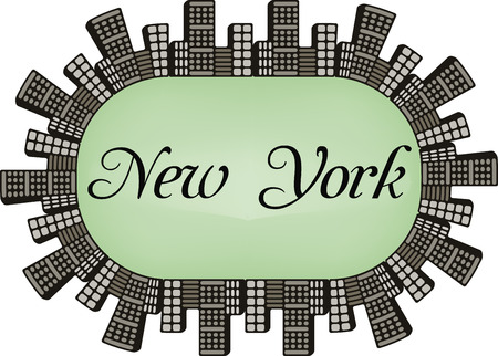new york skyline: New York USA Skyline silhouette plate vector design Illustration