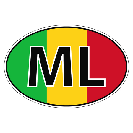 ml: Sticker on car, flag republic  mali with the inscription MLvector for print or website design for language buttons